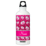 Personalized name neon hot pink glitter cow heads SIGG traveler 0.6L water bottle
