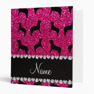 Personalized name neon hot pink glitter dogs vinyl binder