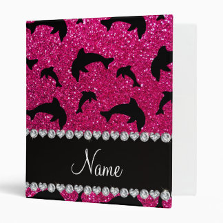 Personalized name neon hot pink glitter dolphins binders