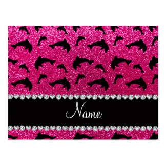 Personalized name neon hot pink glitter dolphins postcard