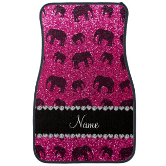 Personalized name neon hot pink glitter elephants car mat