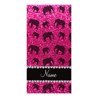 Personalized name neon hot pink glitter elephants personalized photo card