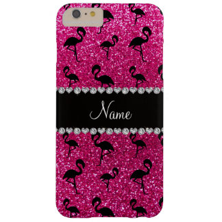 Personalized name neon hot pink glitter flamingos barely there iPhone 6 plus case