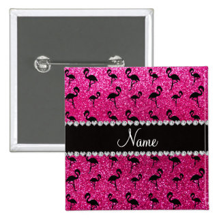 Personalized name neon hot pink glitter flamingos button