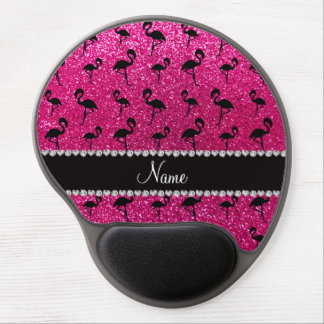 Personalized name neon hot pink glitter flamingos gel mouse pad