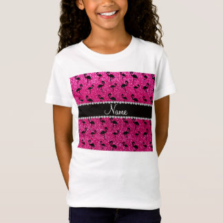 Personalized name neon hot pink glitter flamingos T-Shirt