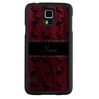 Personalized name neon hot pink glitter flamingos carved® walnut galaxy s5 case