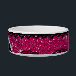 """Personalized name neon hot pink glitter lace bowl<br><div class=""""desc"""">Modern, girly, chic and trendy black lace neon hot pink glitter (faux not real glitter) pattern and pretty bling black diamonds (not real diamonds) with beautiful hearts and dots stripe personalized with your name gifts or monogram gifts or your initials. Girly lace glitter gift ideas for women ideal for weddings....</div>"""