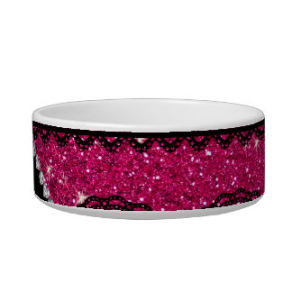 Personalized name neon hot pink glitter lace pet bowl