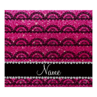 Personalized name neon hot pink glitter lace poster