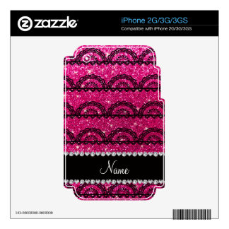 Personalized name neon hot pink glitter lace decal for the iPhone 2G