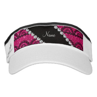 Personalized name neon hot pink glitter lace headsweats visors