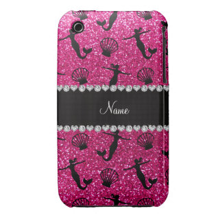 Personalized name neon hot pink glitter mermaids iPhone 3 cover