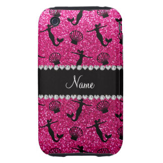 Personalized name neon hot pink glitter mermaids iPhone 3 tough case