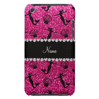Personalized name neon hot pink glitter mermaids iPod touch case