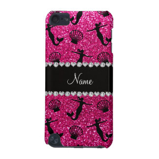 Personalized name neon hot pink glitter mermaids iPod touch 5G cover
