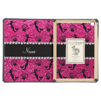 Personalized name neon hot pink glitter mermaids iPad air cases