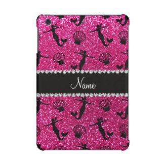 Personalized name neon hot pink glitter mermaids iPad mini retina covers