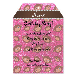 Personalized name neon hot pink glitter monkeys 5x7 paper invitation card