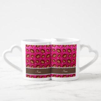 Personalized name neon hot pink glitter monkeys couples' coffee mug set