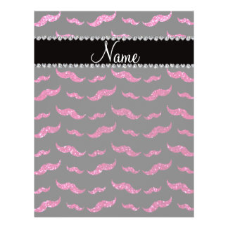 "Personalized name neon hot pink glitter mustaches 8.5"" x 11"" flyer"