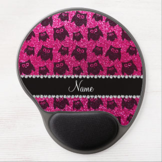 Personalized name neon hot pink glitter owls gel mousepads