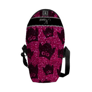 Personalized name neon hot pink glitter owls messenger bags