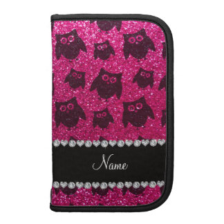 Personalized name neon hot pink glitter owls organizer