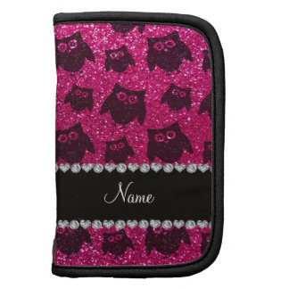 Personalized name neon hot pink glitter owls folio planners