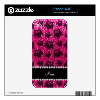 Personalized name neon hot pink glitter owls decal for iPhone 4S