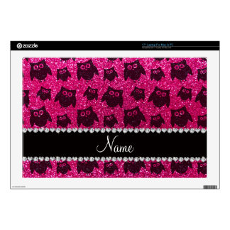 Personalized name neon hot pink glitter owls skin for laptop