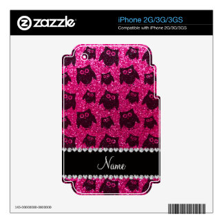 Personalized name neon hot pink glitter owls iPhone 3GS skin