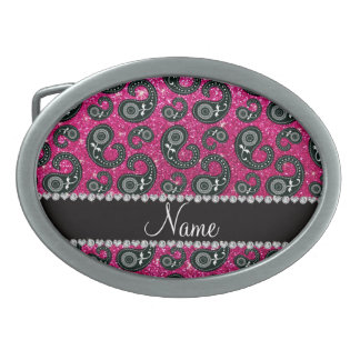 Personalized name neon hot pink glitter paisley belt buckles