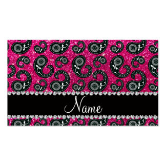 Personalized name neon hot pink glitter paisley business card