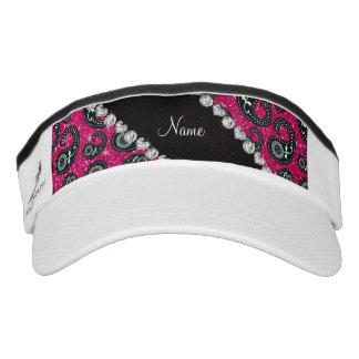 Personalized name neon hot pink glitter paisley headsweats visor