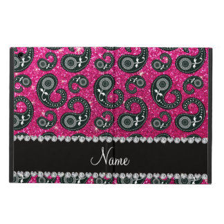 Personalized name neon hot pink glitter paisley case for iPad air