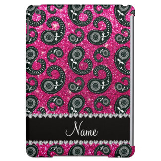 Personalized name neon hot pink glitter paisley cover for iPad air