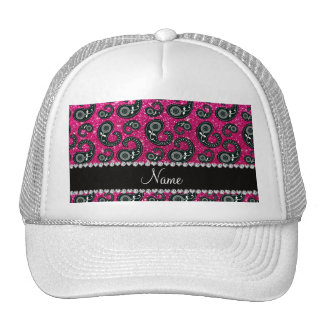 Personalized name neon hot pink glitter paisley trucker hat