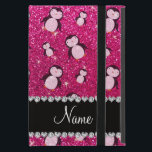 """Personalized name neon hot pink glitter penguins iPad mini cover<br><div class=""""desc"""">Create your own Personalized with a name,  initials,  monogram or saying cute black and white penguins,  on a glitter (NOT REAL GLITTER) background with a pretty black diamonds stripe (not real diamonds) with hearts and dots. Cute penguin gift ideas for penguin lovers.</div>"""