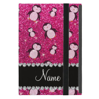 Personalized name neon hot pink glitter penguins iPad mini cover