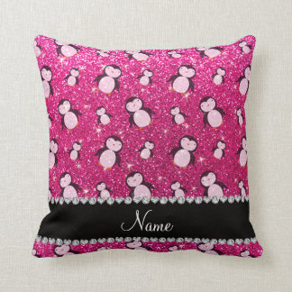 Personalized name neon hot pink glitter penguins throw pillow