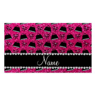 Personalized name neon hot pink glitter purses bow business card templates