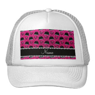 Personalized name neon hot pink glitter purses bow trucker hats