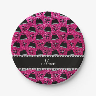 Personalized name neon hot pink glitter purses bow paper plate