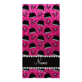 Personalized name neon hot pink glitter purses bow photo card