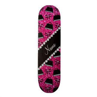 Personalized name neon hot pink glitter purses bow skate decks