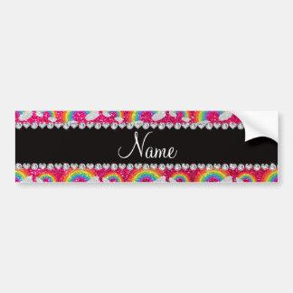 Personalized name neon hot pink glitter rainbows bumper sticker