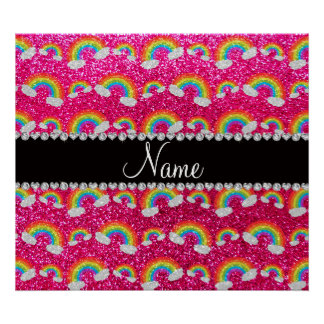 Personalized name neon hot pink glitter rainbows poster