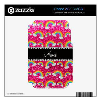 Personalized name neon hot pink glitter rainbows skin for the iPhone 2G