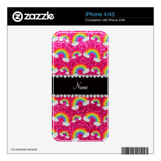 Personalized name neon hot pink glitter rainbows skins for the iPhone 4S